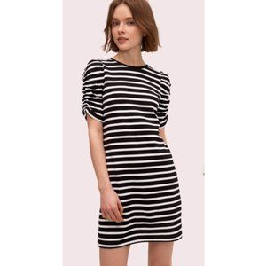 Kate Spade Striped Ruched Puff Sleeve Tee Dress L